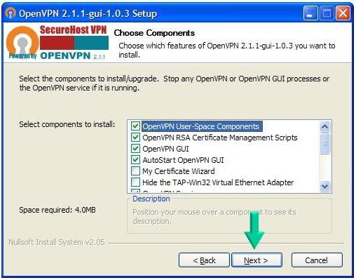 Install Securehost VPN's Openvpn Client for WindowS